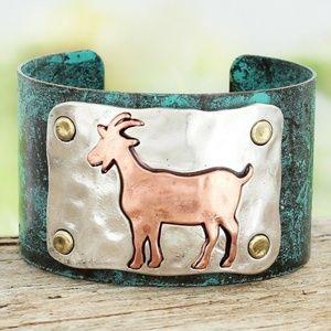 Patina & Coppertone Goat Cuff Bracelet